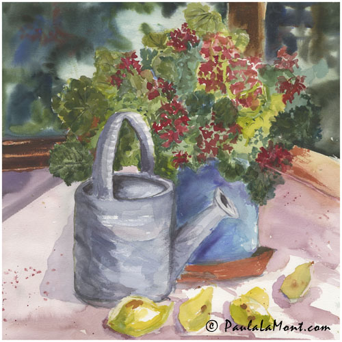 Watering Can and Red Geraniums